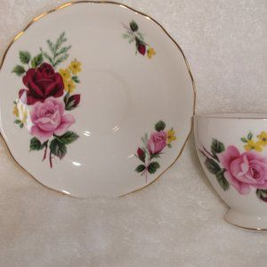 Queen Anne bone china teacup saucer pink red roses